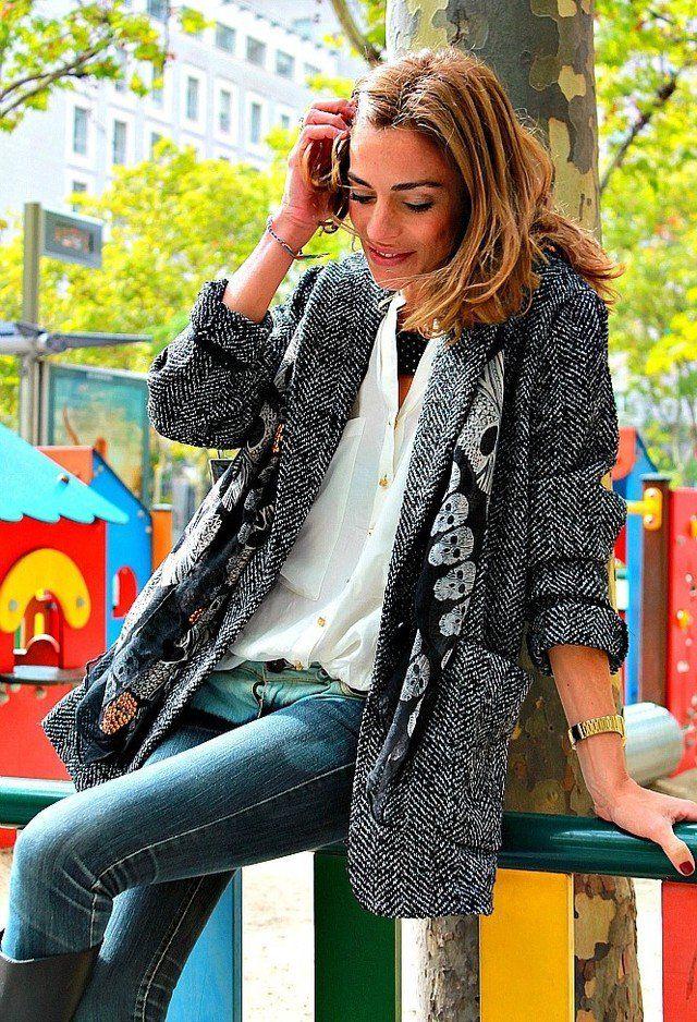 Ein modisches Outfit Idee mit Tweed Mäntel - http://deutschstyle.net/2017/10/11/ein-modisches-outfit-idee-mit-tweed-mantel.html