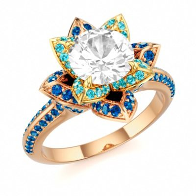 Designer Engagement Ring with White Topaz and Swarovski Brilliance Cubic Zirconia Arctic Blue in 14k Rose Gold and 18k Yellow Gold