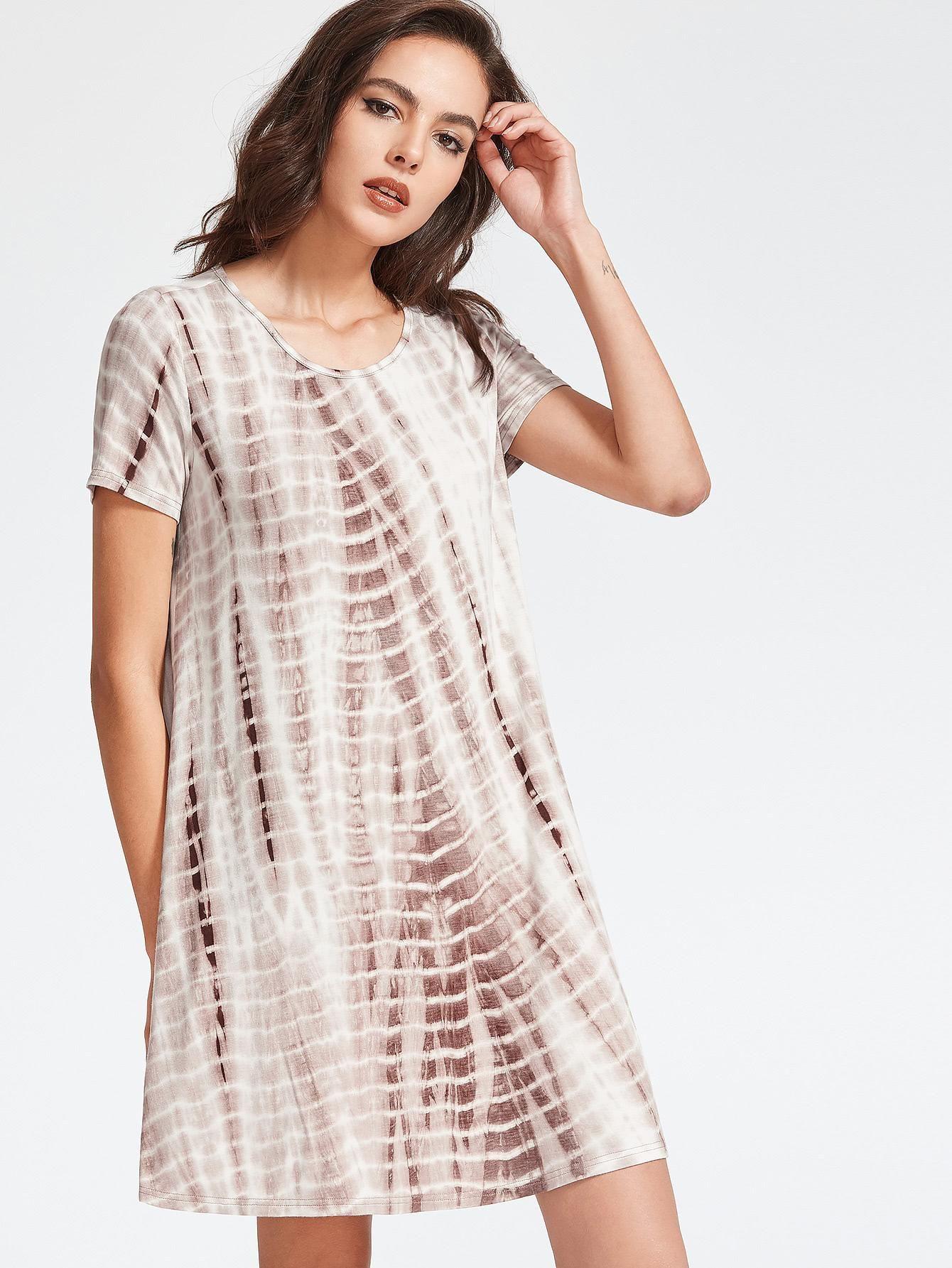 MakeMeChic - MAKEMECHIC Coffee Tie Dye Print Swing Tee Dress - AdoreWe.com