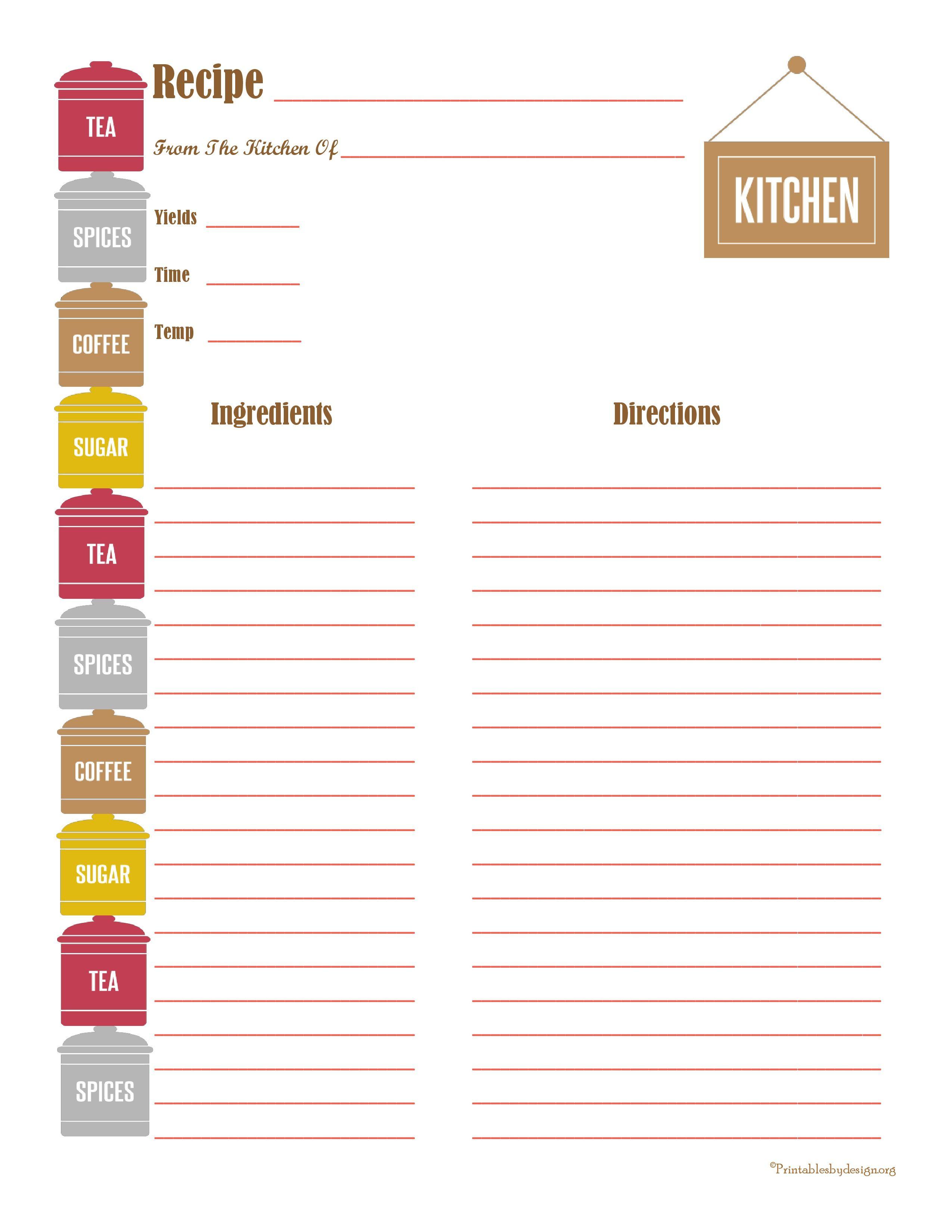 diy recipe book template