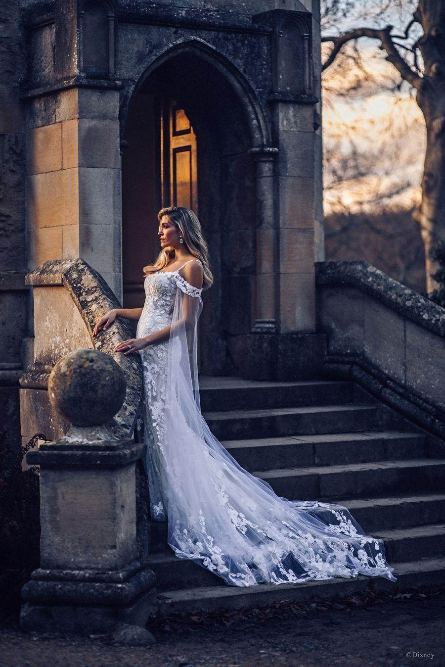 Rapunzel Floral Lace Cold Shoulder Sheath Gown Illusion Cape Sleeves In 2021 Rapunzel Wedding Dress Allure Bridal Disney Fairy Tale Weddings [ 1348 x 900 Pixel ]