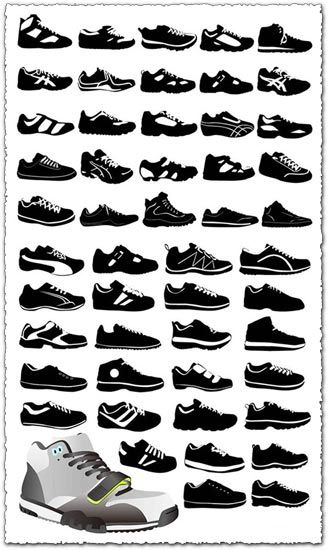 Download Sport Shoes Vector Silhouettes Shoes Vector Free Silhouette Designs Silhouette Free