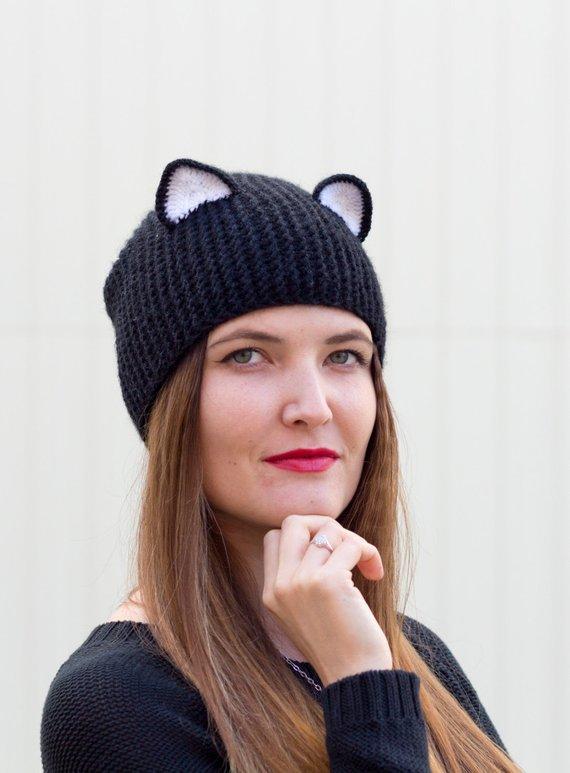 79ee2390919 Knit cat hat Black ear beanie Realistic cat ears Adult animal hat Crochet cat  ears Unisex animal be
