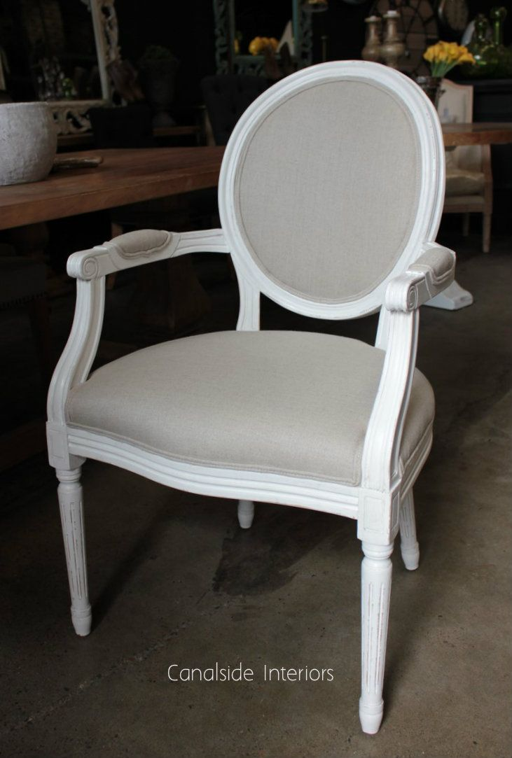 Sansa carver chair distressed white with cream upholstery canalside interiors