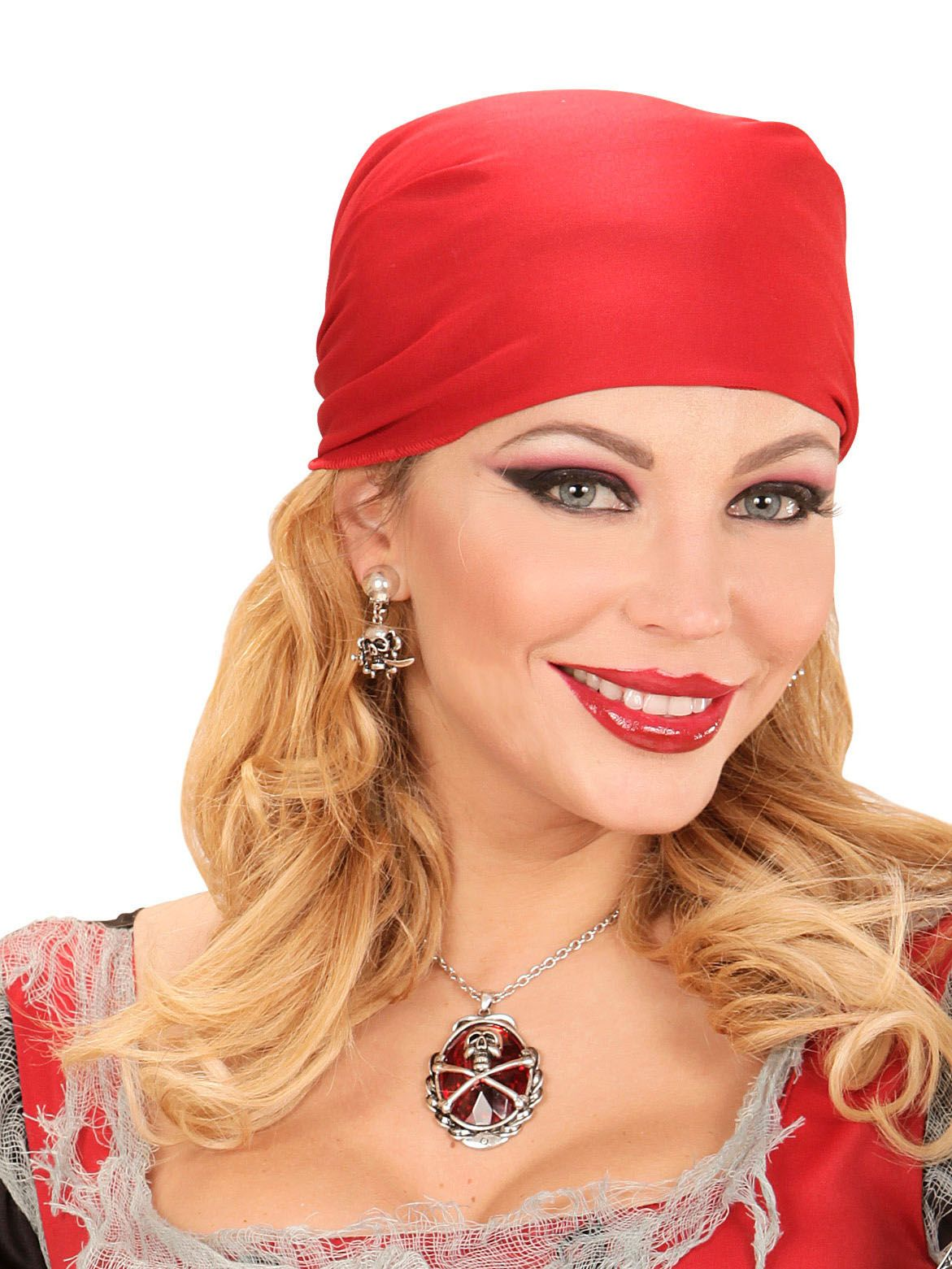Colar pedra vermelha pirata mulher  Este colar metálico de pirata é para  adulto. Ele 6f7cce30d2b