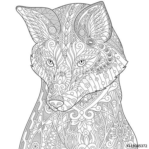 Vector: Stylized fox (wolf or dog), isolated on white background ...