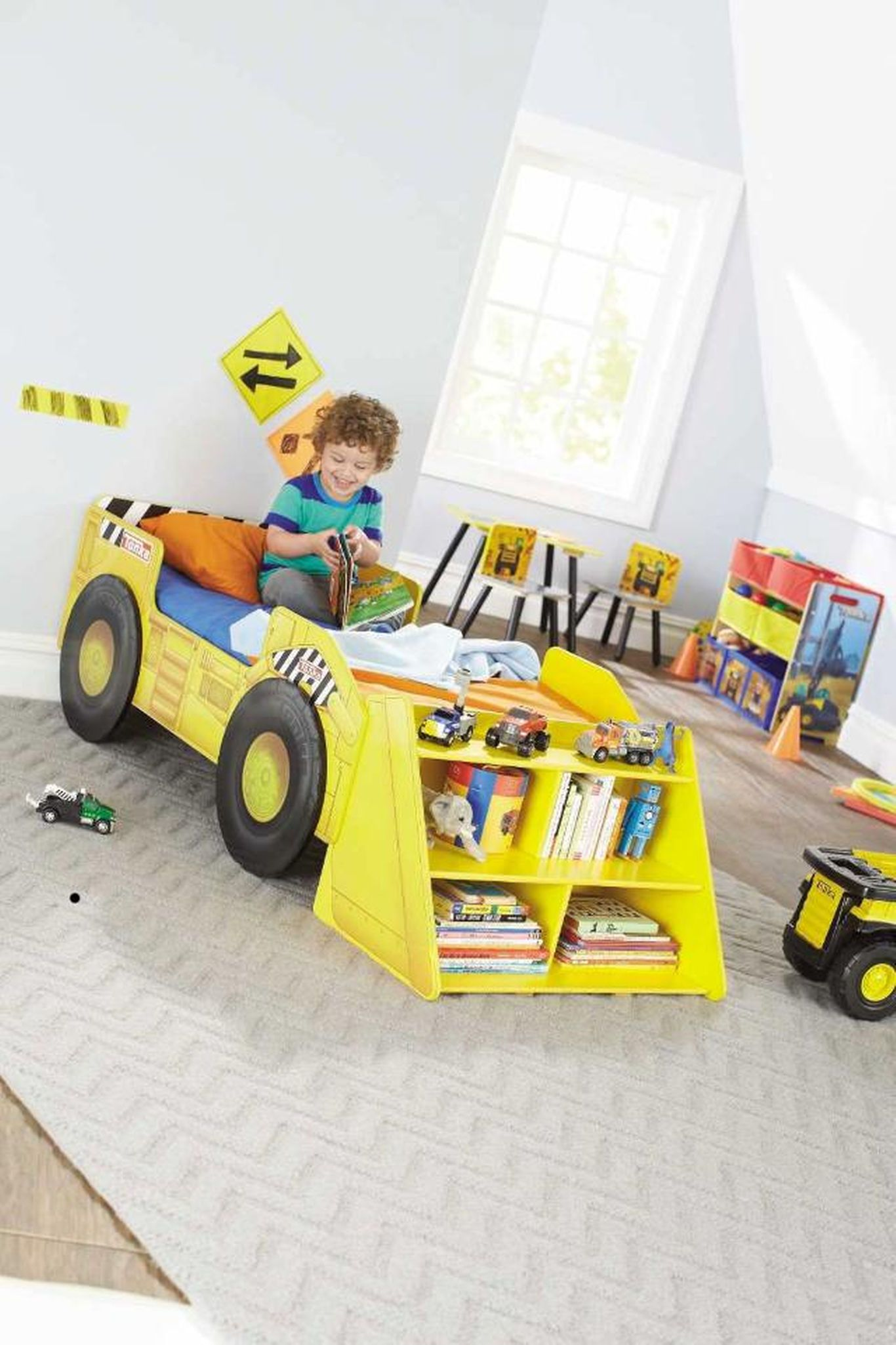 Tonka Truck Toddler Bed With Storage Shelf Toddler Bed With