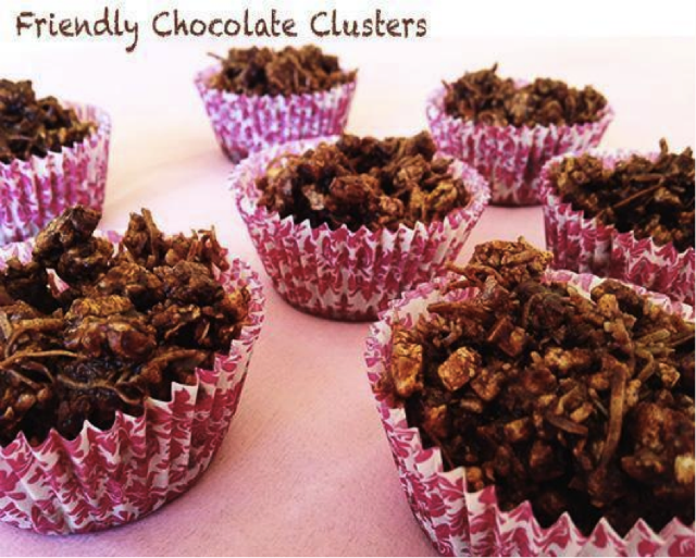 Chocolate clusters - nut, dairy, refined sugar free. puffed rice/rice cakes,  coconut oil, desiccated coconut, RMS, cacao.