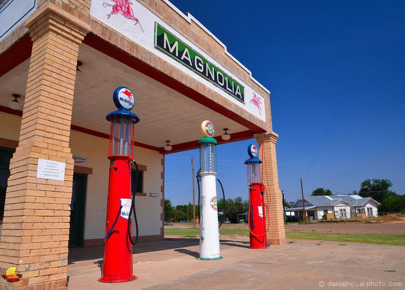 Route 66: Magnolia Gas in Shamrock, TX: Road Trip 2013 - Day 16 - June 26 - Route 66 Part VI, Shamrock, TX: Alright, we're back on the road today rolling east on Route 66 through Texas and arriving at Shamrock, the last stop on the Mother Road before leaving the Lone Star State. What's to look at here? Two wonderful historic gas stations ... beautifully refurbished Magnolia service station with its vintage gravity feed gas pumps. ... #etbtsy #Roadtrip #roadtripping #Route66 #boldcolors…