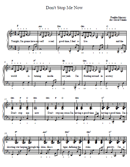 Don't Stop Me Now Queen Piano Tab | Piano Sheets | Piano ...