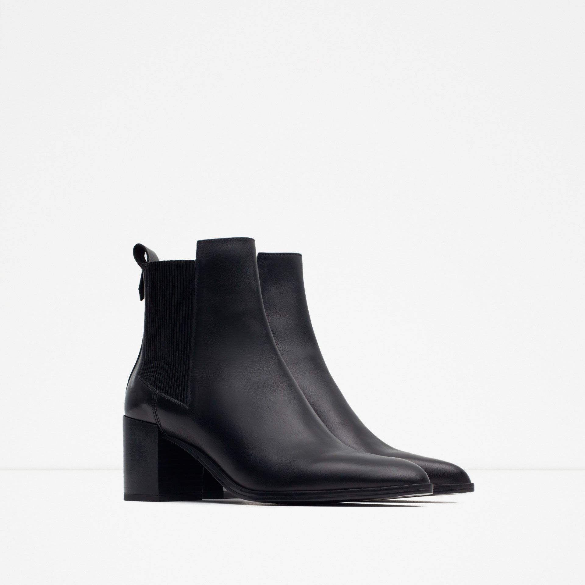 8bf524f5ce5 Image 2 of BLOCK HEEL LEATHER ANKLE BOOTS WITH STRETCH DETAIL from Zara