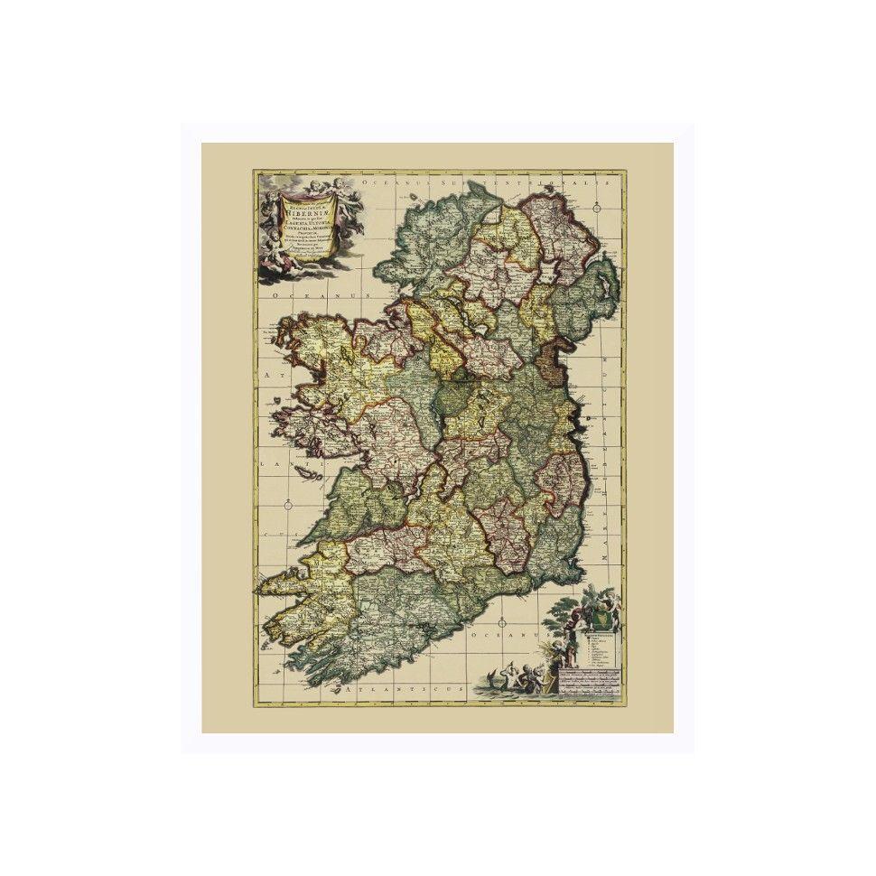 Ireland: Vintage Map Art | Old Maps | Old maps, Map, Framed maps