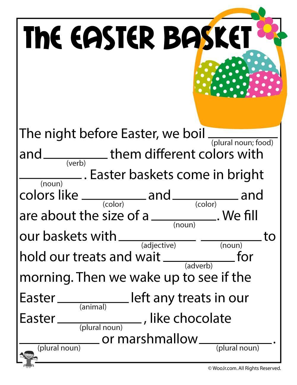 The Easter Basket Printable Mad Lib Woo Jr Kids Activities Easter Worksheets Easter Lessons Easter Basket Printable