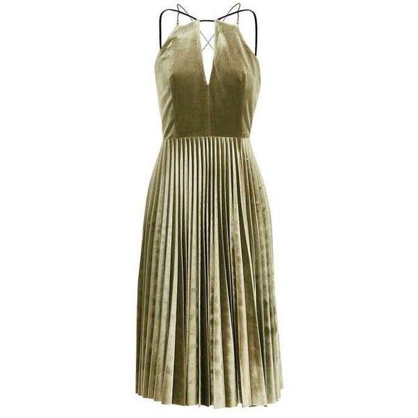 TopShop Petite Velvet Pleated Midi Dress (265 BRL) ❤ liked on Polyvore featuring dresses, topshop, vestidos, cross back midi dress, criss-cross back dresses, criss cross back dress, topshop dresses and brown midi dress