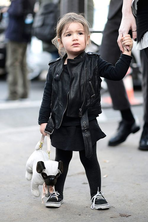 294750c030d I don t think anyone is more fashionable than this little girl in her black  Vans carrying a pug bag.