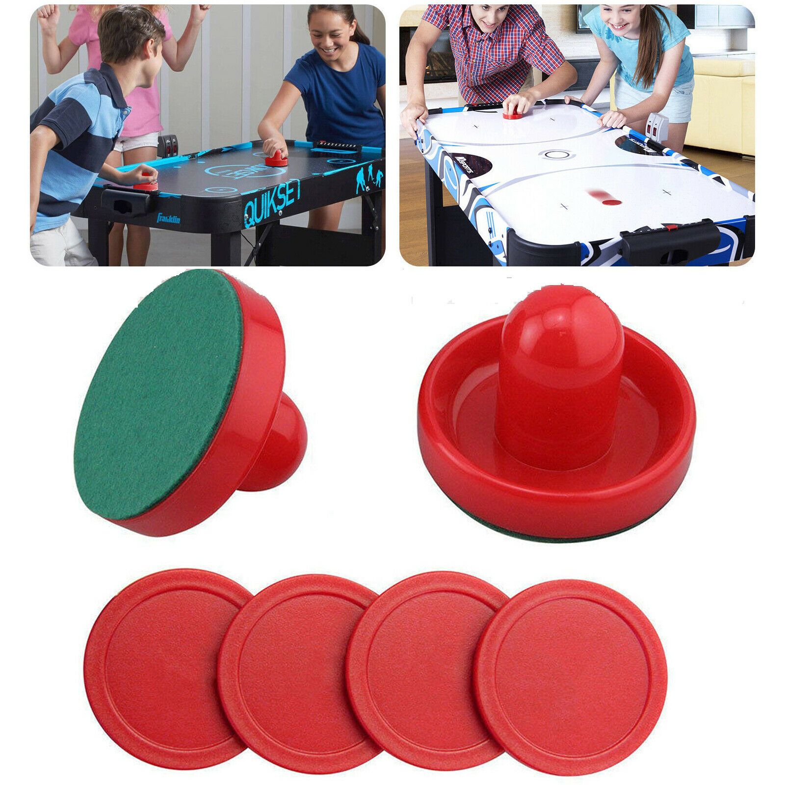 "2 Air Hockey Pushers-Red//Green Felt /& 4 Round 2-1//2/"" Green Pucks Table Hockey"