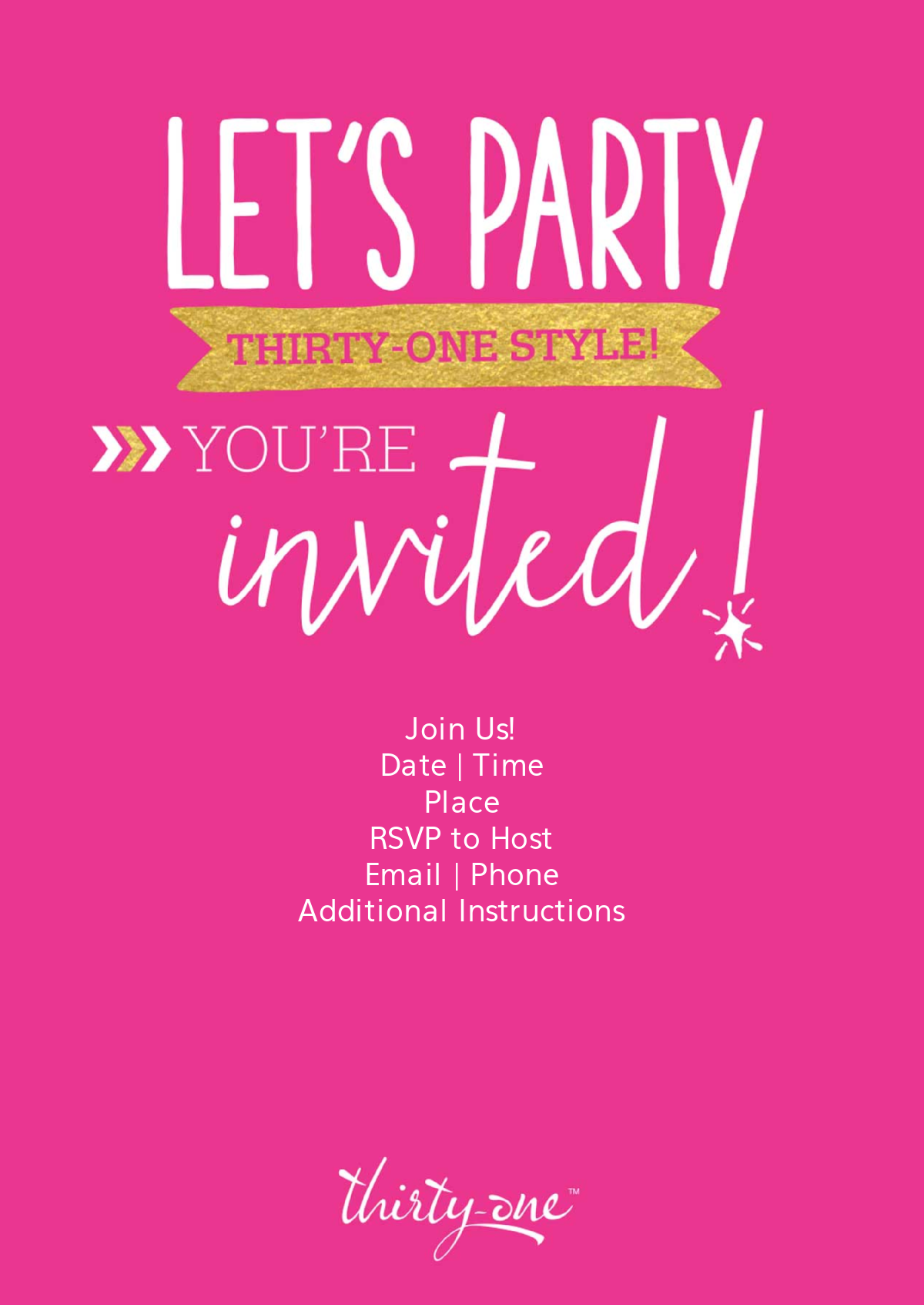 THIRTY-ONE PINK AND GOLD INVITATION | Thirty-one | Pinterest ...
