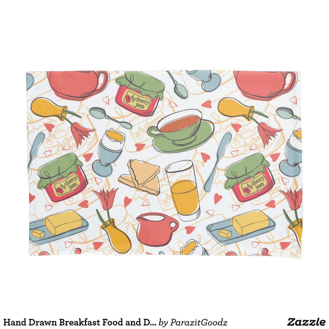Hand Drawn Breakfast Food And Drinks Pattern Pillow Case | Zazzle.com