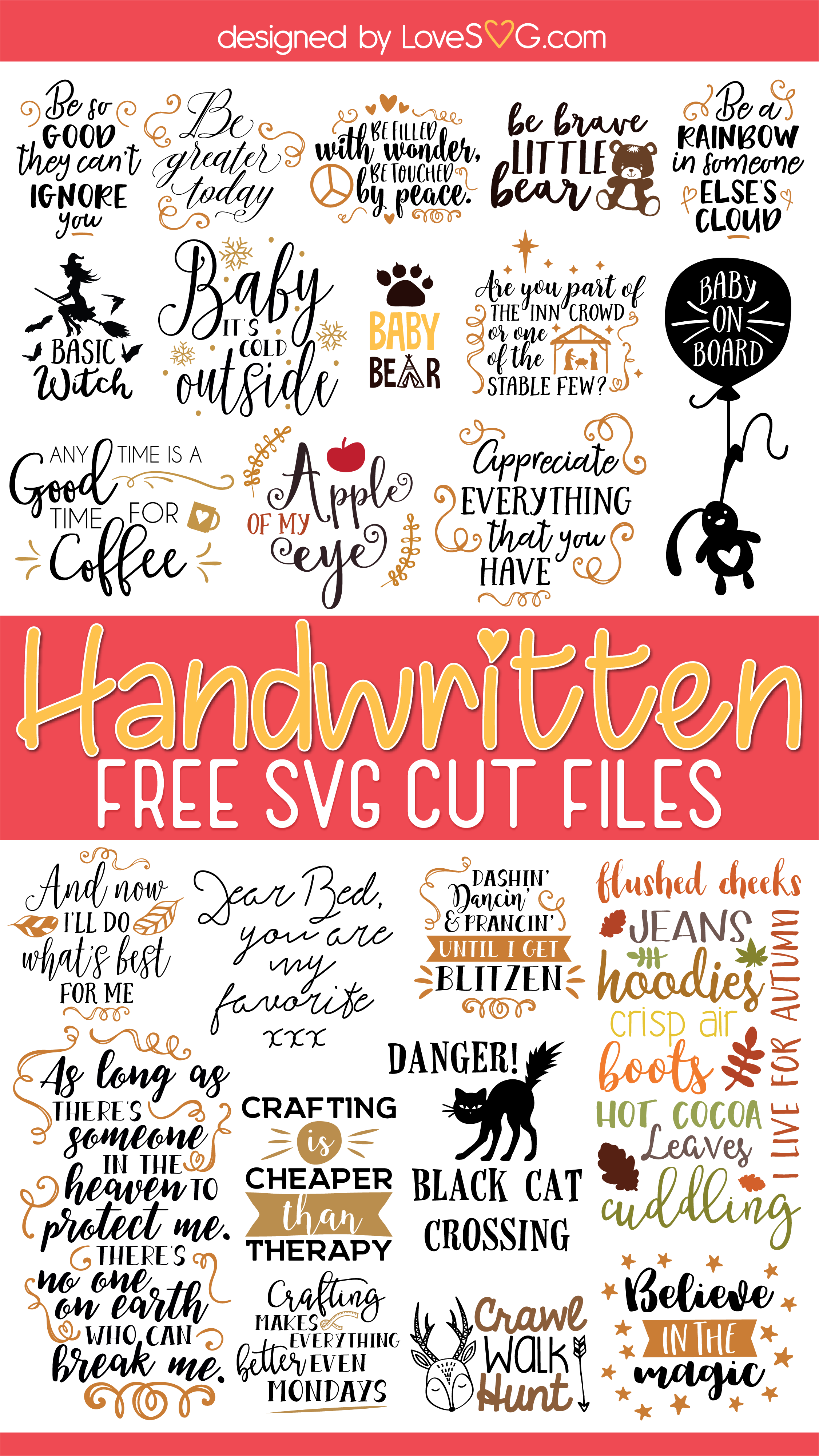 Free Handwritten SVG Cut Files | LoveSVG.com