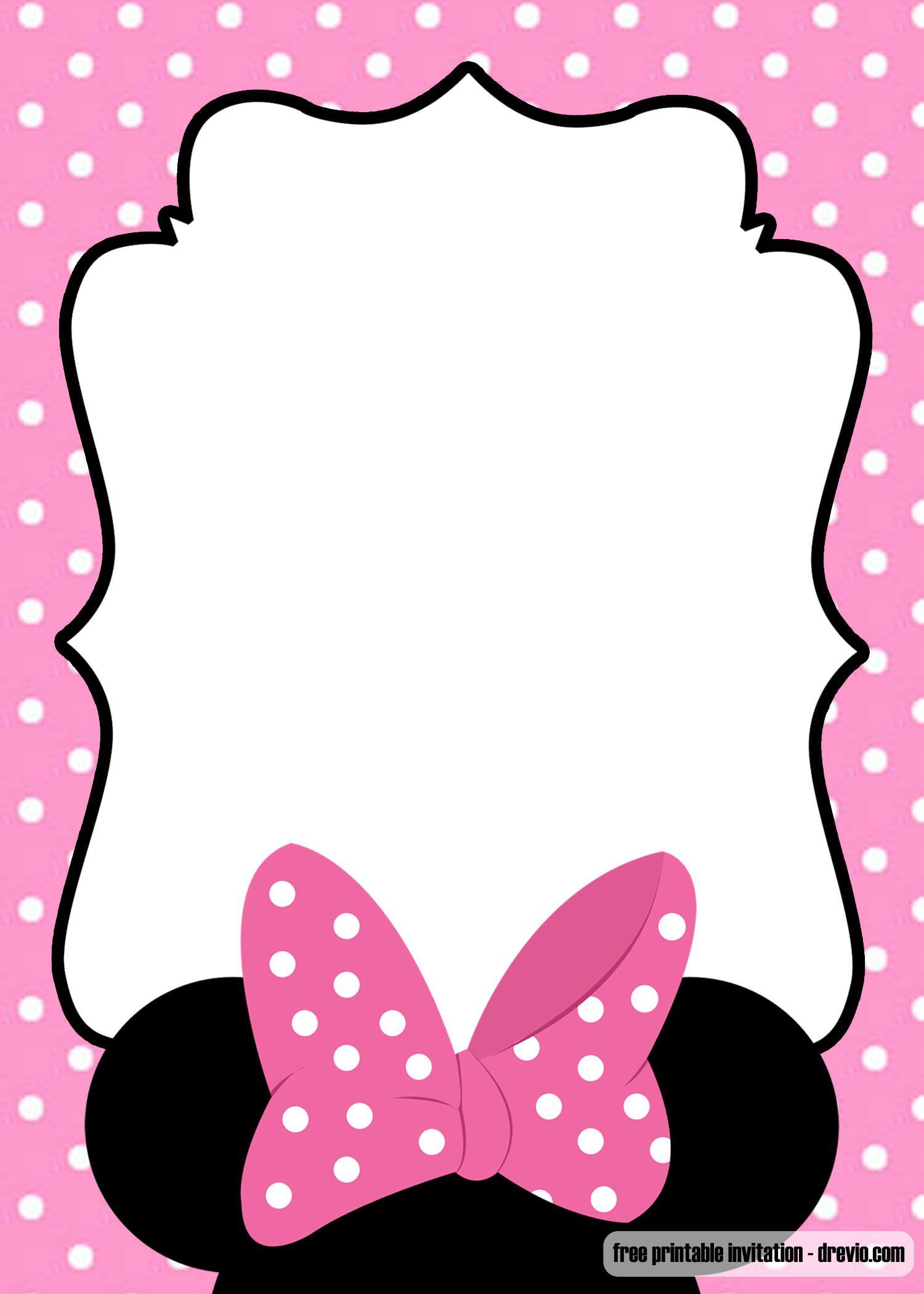 Free Minnie Mouse Kids Polkadot Invitation Templates