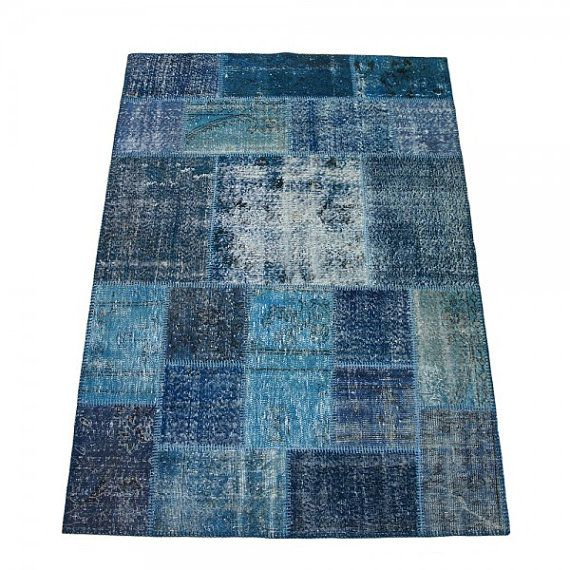 Overdyed Rug, Distressed Rug, Patchworok Rug, Blue Rug, Over dyed ...