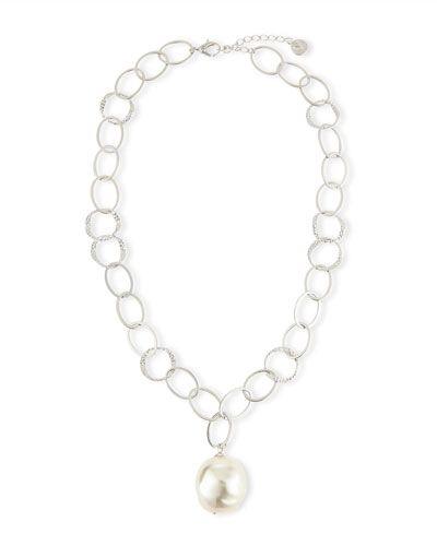 """Y2ZSR Majorica Baroque Pearl Pendant Necklace, 16"""""""
