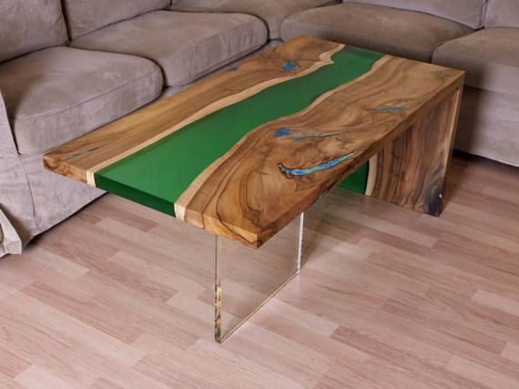 Awesome Waterfall Live Edge River Coffee Table With Plexiglass Leg Cjindustries Chair Design For Home Cjindustriesco