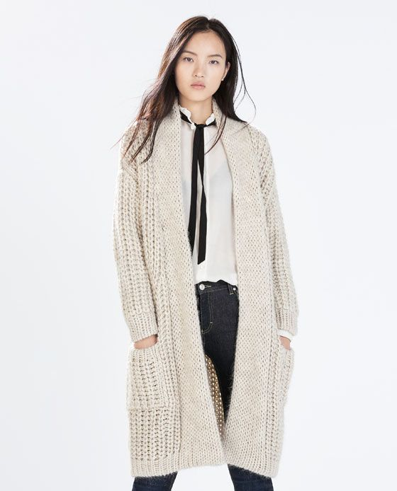 LONG KNIT COAT WITH POCKETS | Crochet Personal | Cardigans