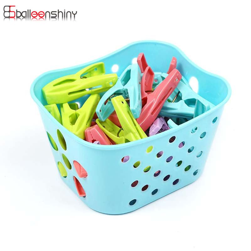 Balleenshiny 30pcs Clip 1pcs Basket Household Mini Colored Plastic