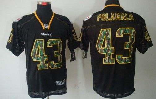 meet 1e8ed fe5fd Nike Pittsburgh Steelers #43 Troy Polamalu Black With Camo ...