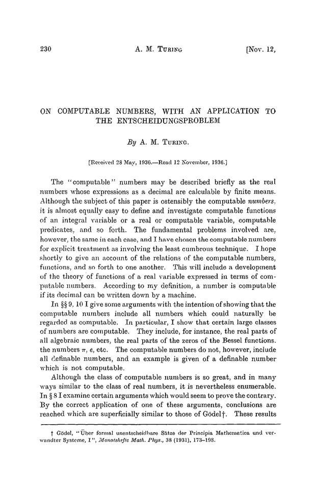 Alan Turing's introduction of Universal Turing Machines