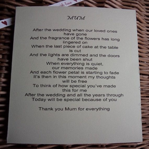 To My Mum On My Wedding Day Wedding Day By