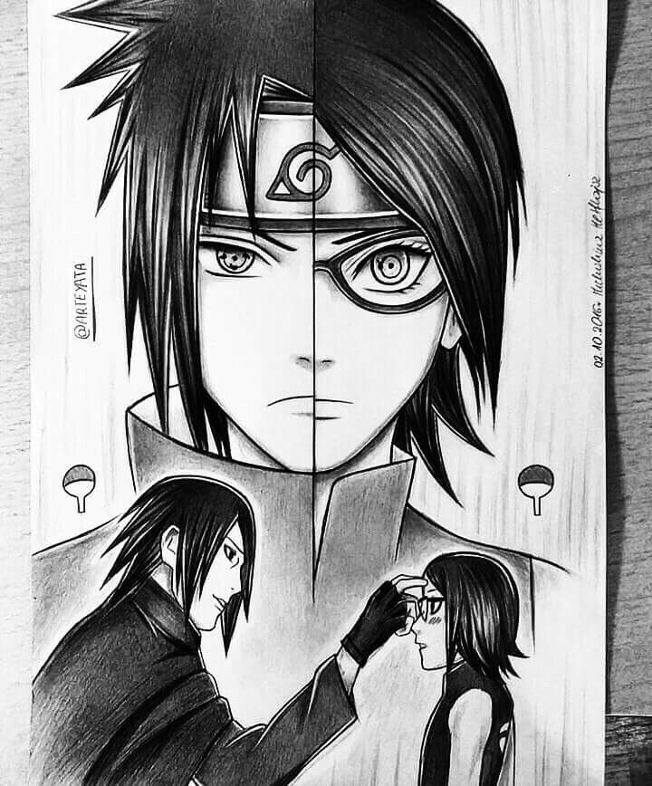 60 Best Naruto Drawings Images On Pinterest: Sasuke And Sarada (Pai E Filha)