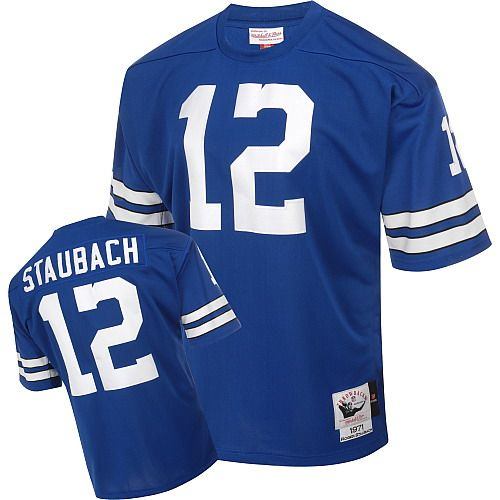 Discount NFL Mitchell And Ness Dallas Cowboys #12 Roger Staubach Blue Premier