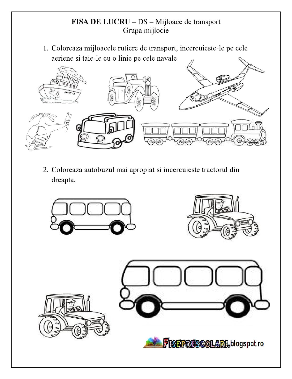 FISE de lucru cu Mijloace de Transport - Grupa mijlocie - DS ...