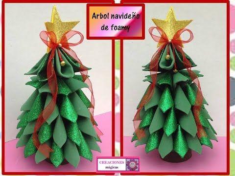Arbol Navideno De Foamy O Goma Eva 3d Creaciones Magicas Youtube Hacer Arbol De Navidad Mini Arbol De Navidad Arboles De Navidad De Papel