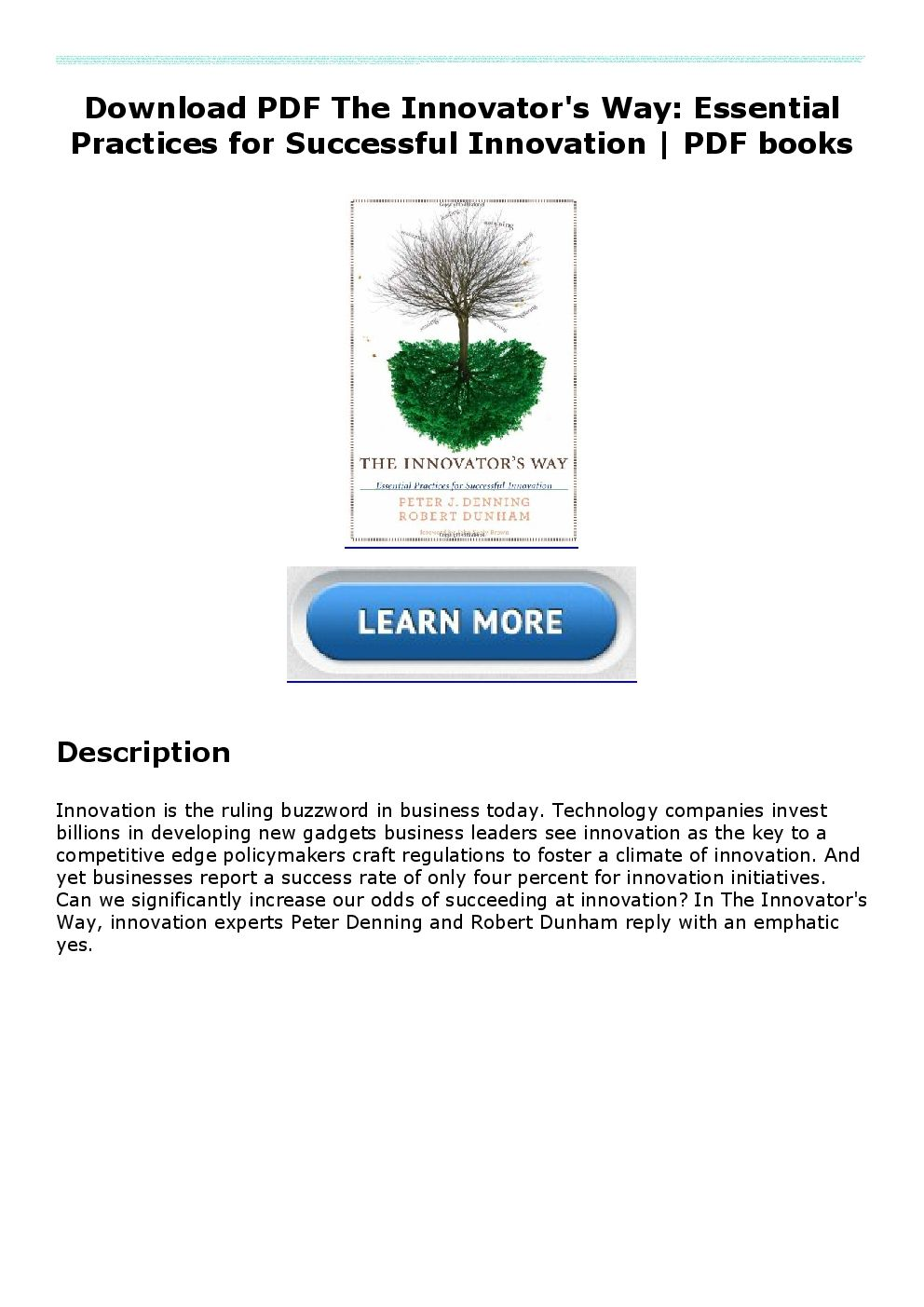 Download PDF The Innovator's Way Essential Practices for