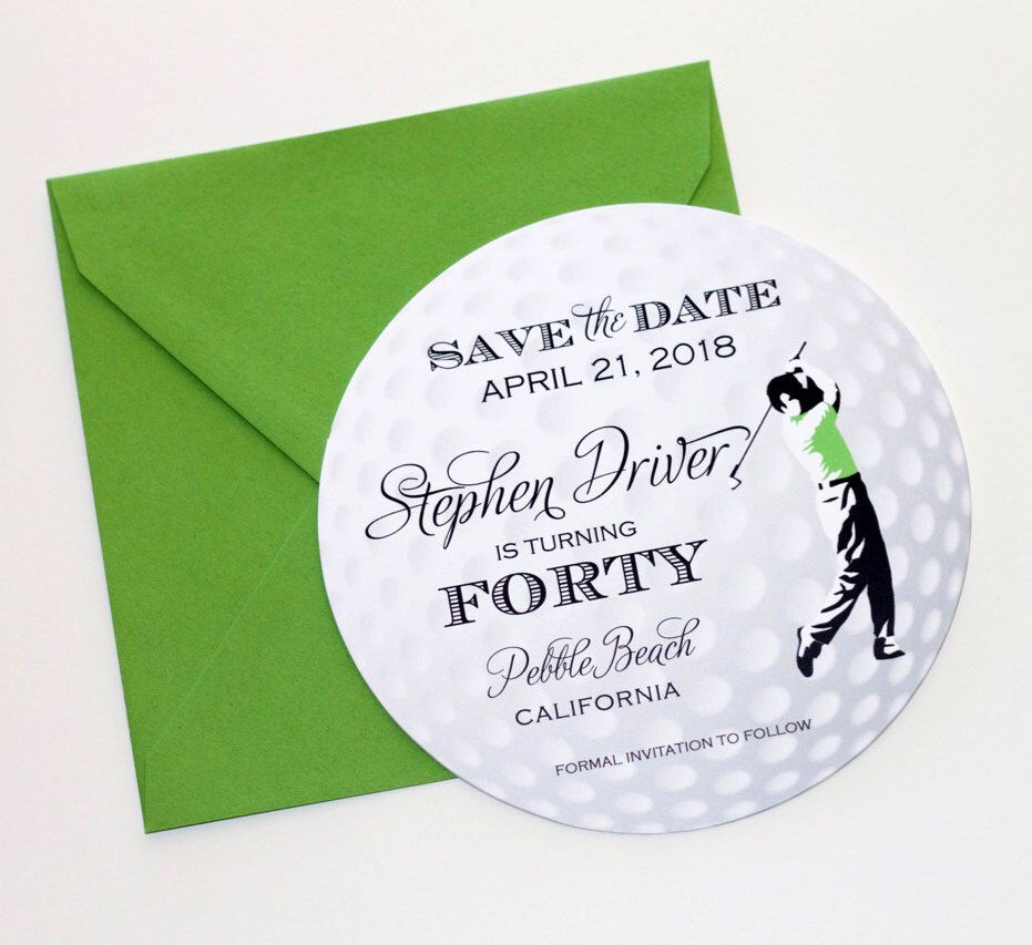 Golf Ball Save the Date Card - Golf Invitation - Golf Themed Party ...