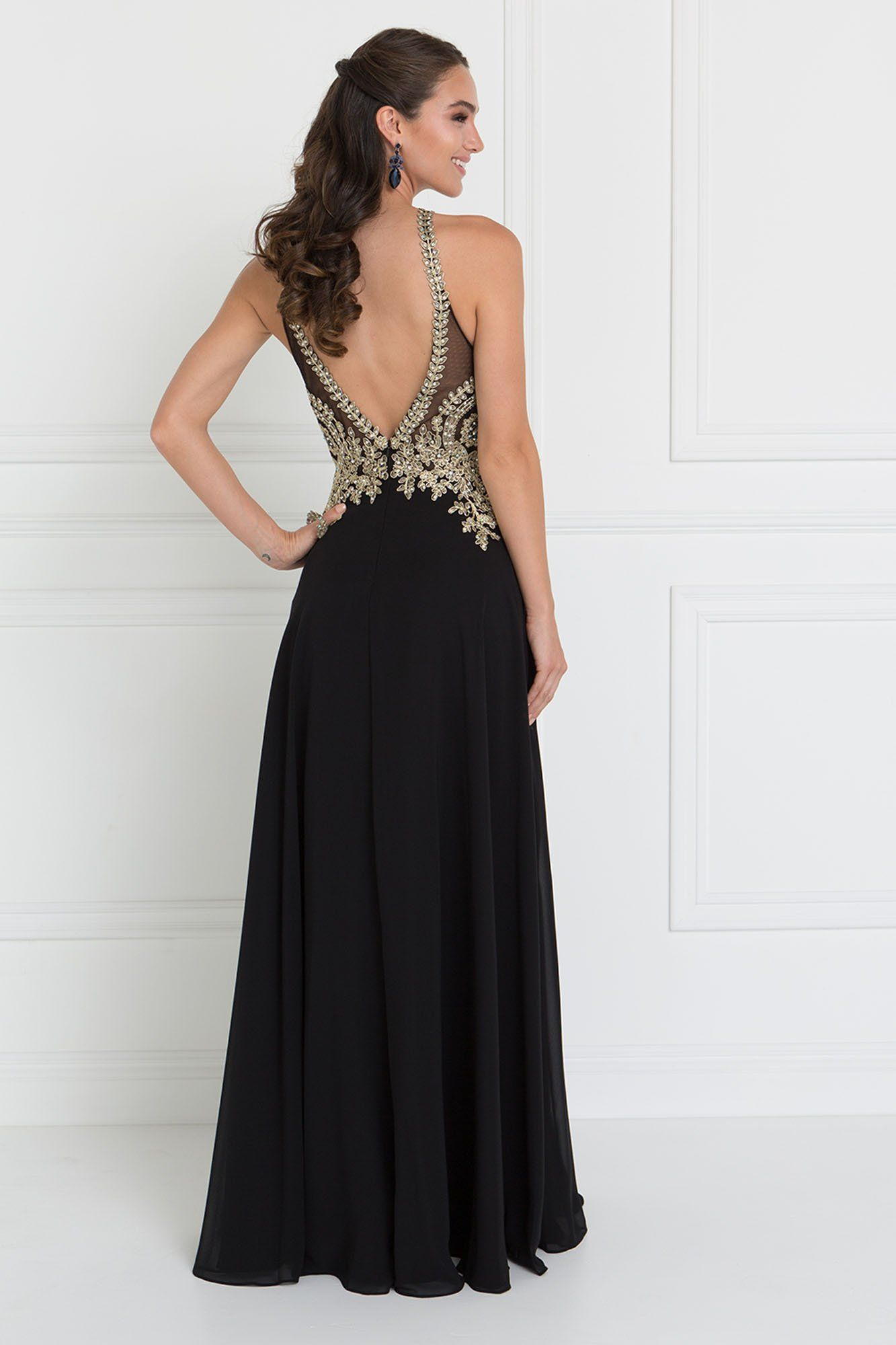 e5219430b6c1 Halter top prom dress Wow the crowd with this elegant prom dress with  jeweled, gold lace halter top. An amazing, long chiffon dress with peep  hole bust and ...