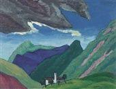 Berglandschaft mit Kirche und Gewitterwolke by Gabriele Münter on artnet