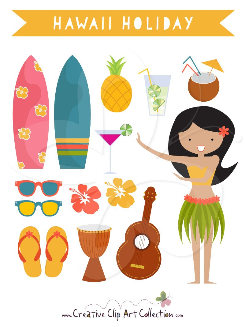 medium resolution of a cute hawaii holiday clip art clipart set with a hula dancer perfect for themed invitations parties decorating or craft projects