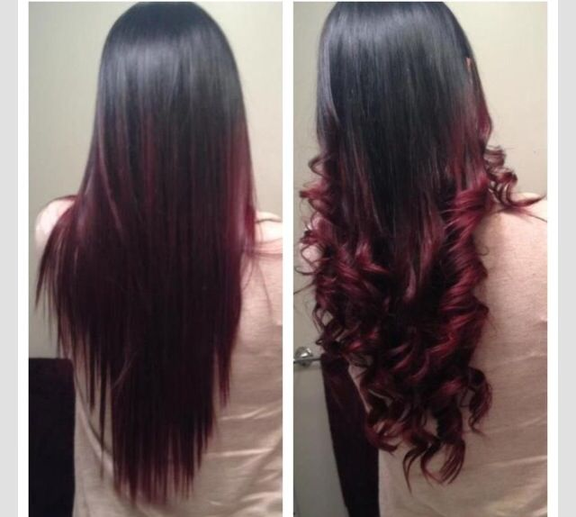 Black To Red Burgundy Hair Hair Pinterest Red Ombre Hair Hair