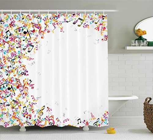 Music Decor Shower Curtain Set By Ambesonne Colorful Mus