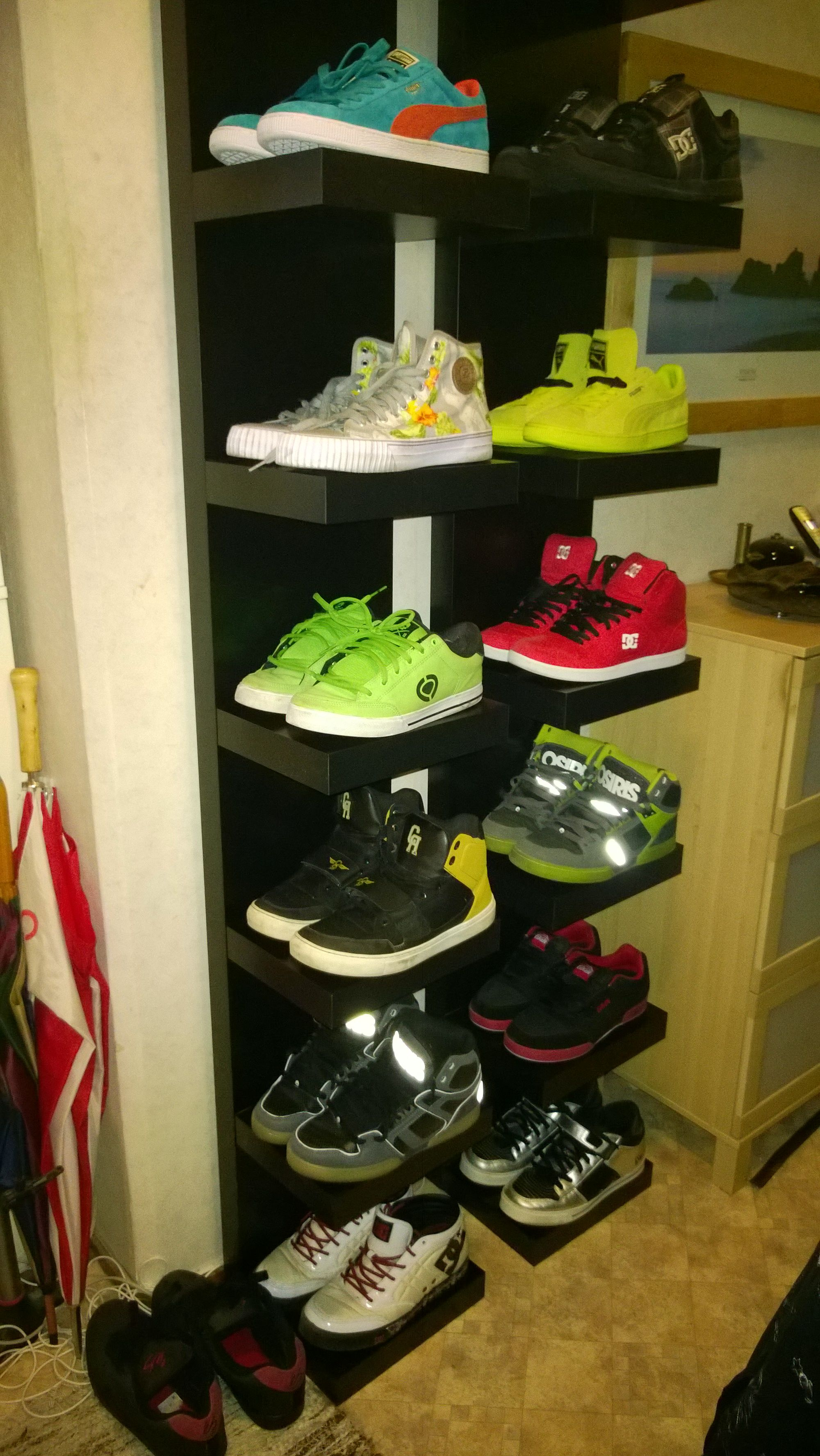 My Own Diy Shoe Shelf Made From Ikea S Lack Shelf Shoe Shelf Diy