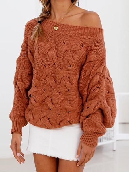 US Womens Off-shoulder Long Sleeve Knitted Sweater Tassel Pullover Jumper Tops
