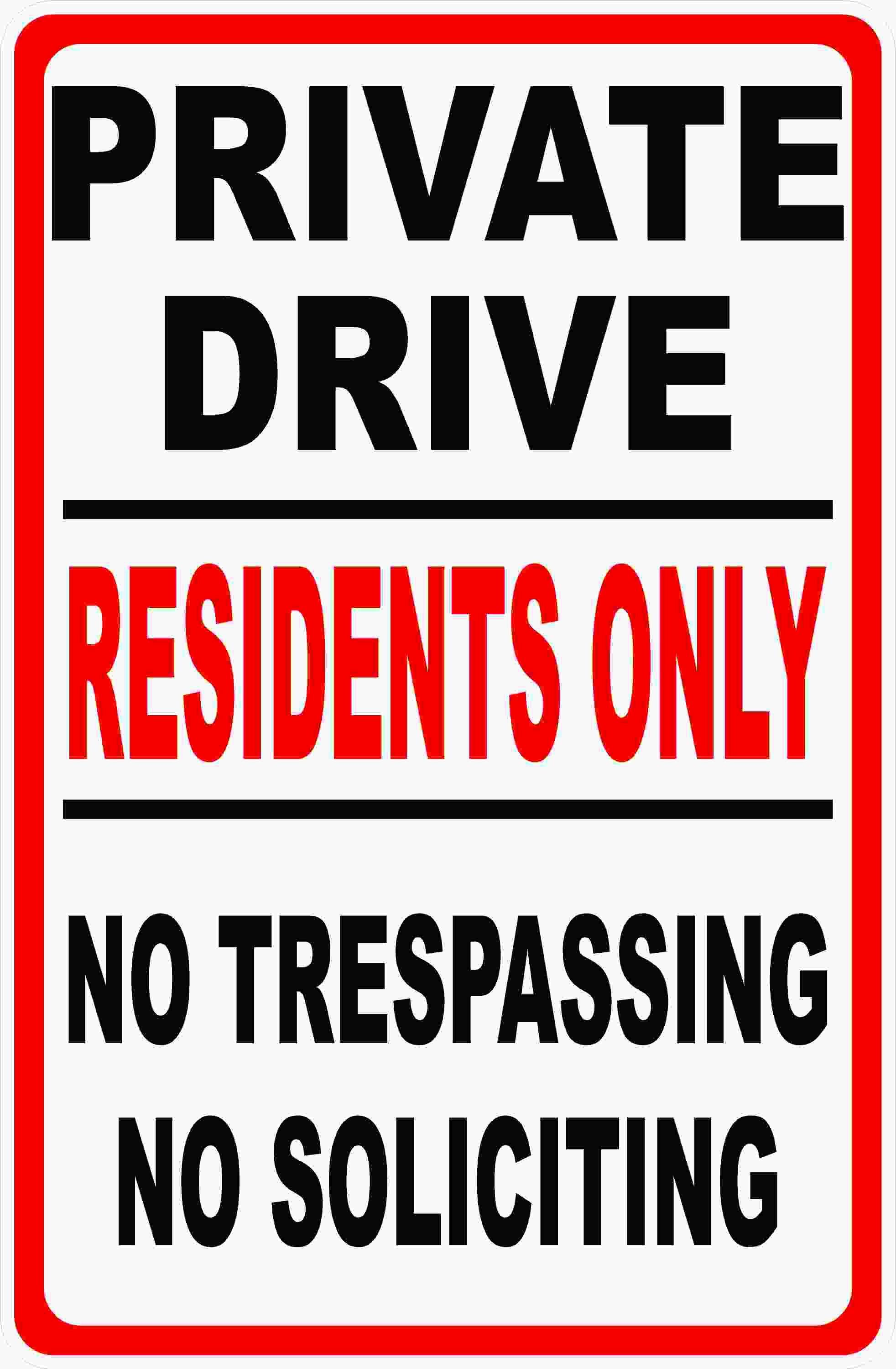 """Private Driveway No Trespassing House Home Sign 8/""""x12/"""" Aluminum Car Keep Out"""