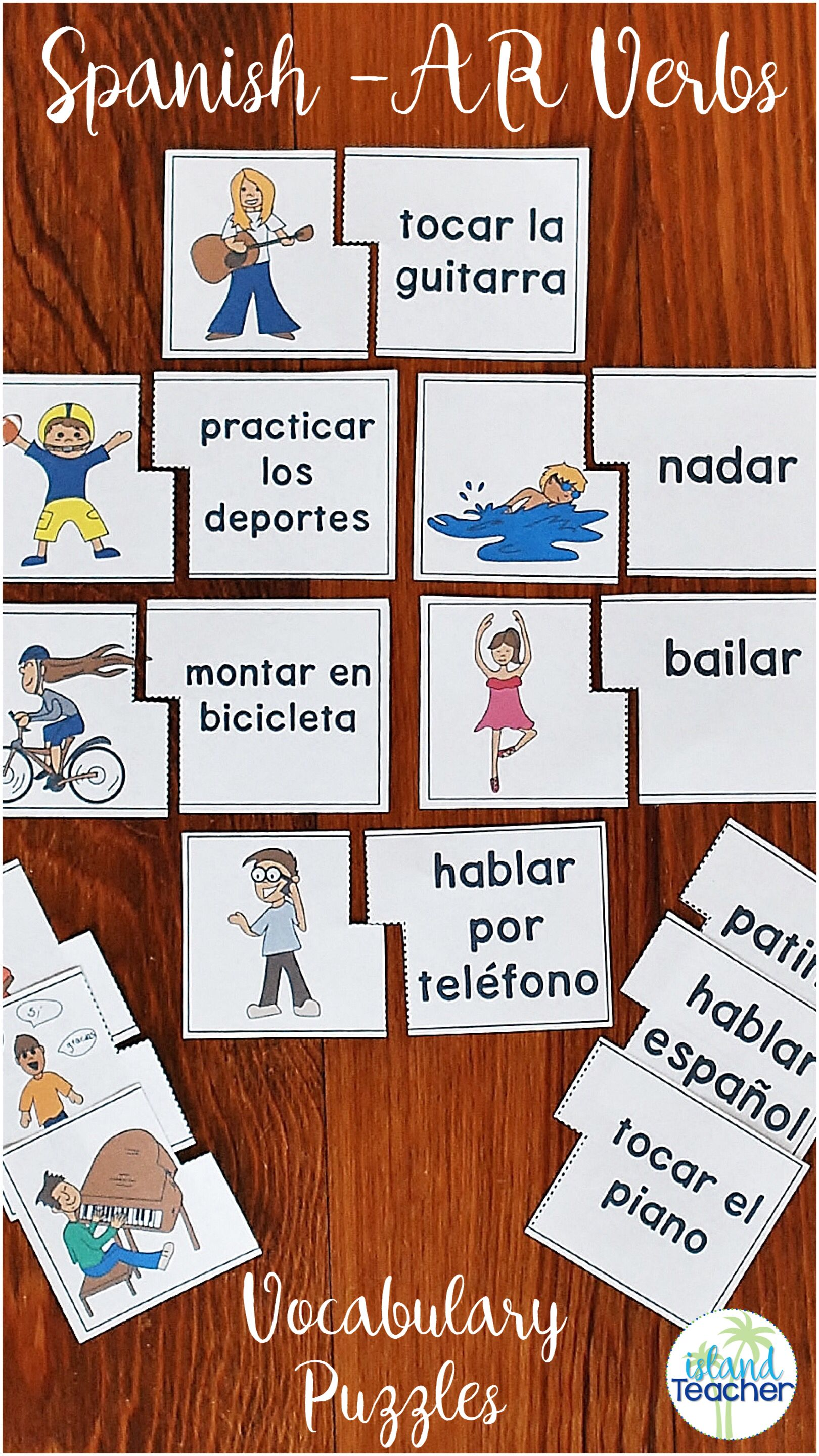 Spanish Ar Verbs Puzzles Learning Spanish Spanish Lessons For Kids Teaching Spanish [ 2880 x 1620 Pixel ]