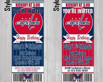 86fcd7b0e75 Washington Capitals Themed Birthday Invitation Tickets - NHL Hockey Stanley  Cup Playoffs Birthday Invitations -Personalized invites!