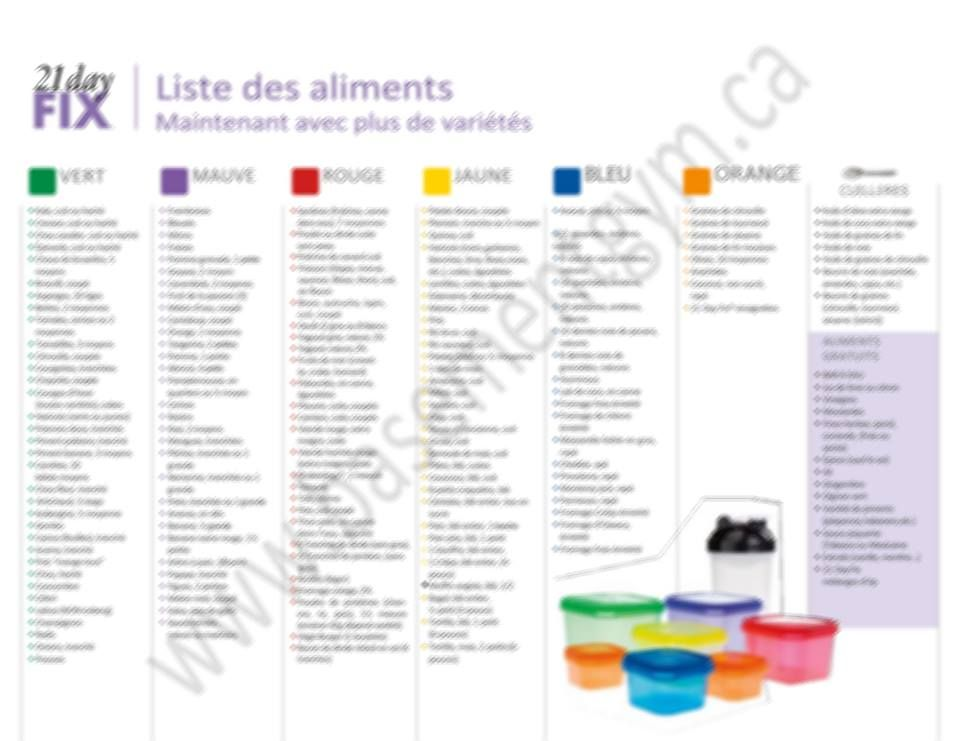 21 Day Fix Le Guide Alimentaire Basementgym 21 Day Fix Meal Plan 21 Day Fix Meals Food Lists