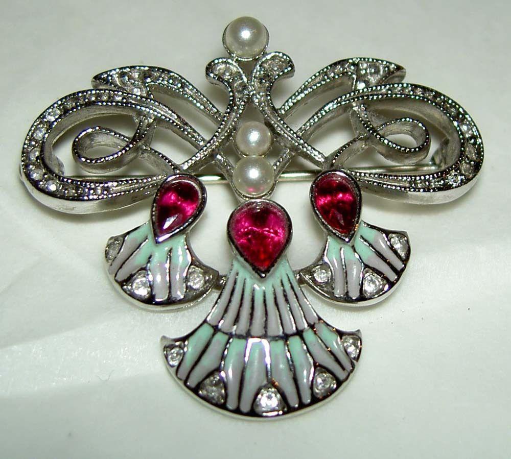 Joan Rivers Art Nouveau Look Faux Pearl Ruby Rhinestone Enamel Tassel Pin Brooch | eBay
